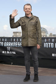 A brown leather jacket topped off Edgar Wright's cool and casual look at the 'Star Trek Into Darkness' event in Berlin.
