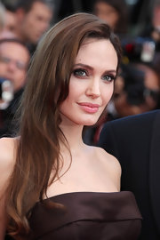Angelina Jolie used her chocolate brown dress as inspiration for her subtly smoky eye makeup. Rich mocha and caramel shades were used to emphasize her beautiful eyes.