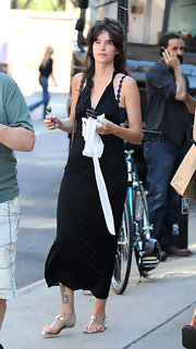 Paz de la Huerta turned heads in a sexy black halter dress while out strolling in New York City.