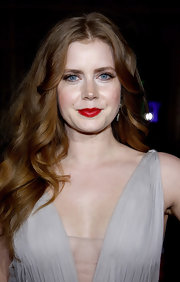 Amy Adams paired her long flowing curls with saturated red lips. She opted for a soft eye to finish off her look.