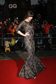 Daisy Lowe was stunning on the red carpet in a black and nude lace gown with long-sleeves and a trumpet skirt silhouette.