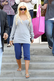 Singer and actress Christina Aguilera was spotted in a pair of  Vintage sweatpants in sapphire while leaving a taping of Chelsea Lately.