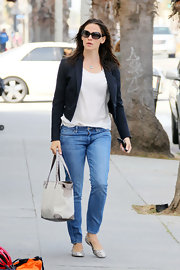 Jennifer sports a blue navy blazer with her casual ensemble while out in Santa Monica.
