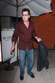 Charlie Sheen went out to dinner in a burgundy button-down shirt.