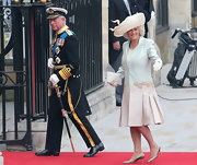 Camilla looked lovely at the royal wedding in a large decorative hat.