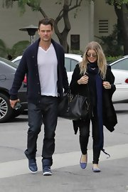 Josh Duhamel wore basic jeans while attending church with wife, Fergie.