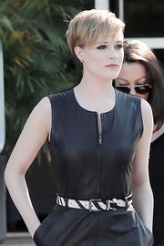 Evan Rachel Wood added flair to her leather dress with a zebra print belt at her natural waist.