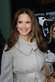 Kelly Preston wore her shiny tresses long and straight and with a center part during an appearance on 'Good Morning America.'