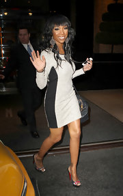 Brandy wore a pair of statement-making Martha earrings while out and about in NYC.