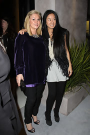 Kathy Hilton paired embellished black evening pumps with her demure outfit at the Vera Wang store launch.