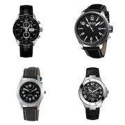Black Leather Sport Watches