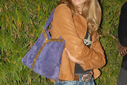Denise Richards Suede Shoulder Bag