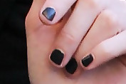 Michelle Dockery Dark Nail Polish