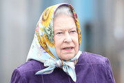 Queen Elizabeth II Wraps Her Hair in a Colorful Silk Scarf