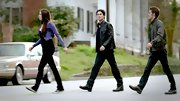 A confident Ian Somerhalder made strides in all-black, pairing a leather jacket with matching jeans.