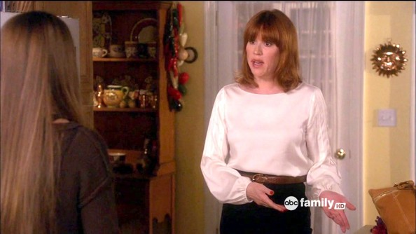 More Pics of Molly Ringwald Medium Wavy Cut with Bangs (1 of 7) - Molly Ringwald Lookbook - StyleBistro