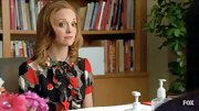 Jayma Mays always looks cute in prints, particularly in this colorful black and red retro dress.