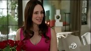 Madeleine Stowe brightened up the small screen in this hot pink bandage dress.