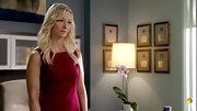 Kari Matchett slipped into a sophisticated berry sheath with flattering lines on 'Covert Affairs.'