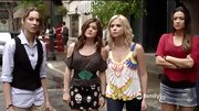 Lucy Hale tends to have the edgiest look on 'Pretty Little Liars,' so this skull print mini skirt was a natural choice.