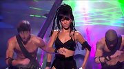 Rihanna kept her stage style racy as ever at the 'AI' final in a black embellished bra.