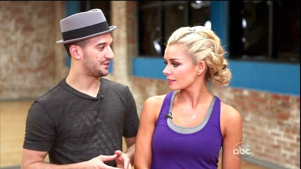 Katherine Jenkins looked impossibly cute during 'DWTS' rehearsals in a purple tank layered over a gray sports bra.