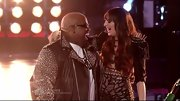 Juliet Simms embraced her coach, Cee-Lo, in a dangerously spiked jacket. Talk about fierce!
