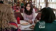 Katie Findlay chose this purple hole-y sweater for her totally rad '80s-inspired look on 'The Carrie Diaries.'