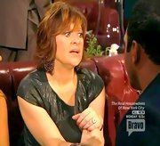 Caroline Manzo added some shine to her look on 'The Real Housewives of New Jersey' with a snakeskin textured top.