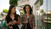 Jessica Stroup kept it grungy on '90210' in a plaid flannel button down.