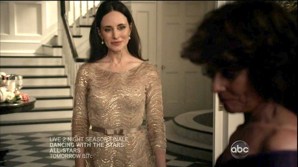 Madeleine Stowe dripped with sparkle in this festive scallop-beaded dress with a bowed belt.