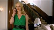 Amber Valletta's character may (or may not) have died in a plane crash during the season finale of 'Revenge,' but at least she went out looking good. Her draped green Under.Ligne by Doo.Ri dress had a modernized Bianca Jagger feel, which was offset by wide black leather belt.