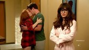 Zooey Deschanel cozied up on 'New Girl' in a frilly pink robe.