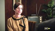 An oversize bow added drama to Embeth Davidtz's gold blouse on 'Mad Men.'