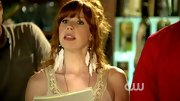 Mallory Moye embraced the feather trend, wearing a pair of the white shoulder dusters on 'Hart of Dixie.'