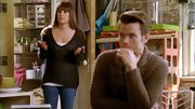 Lea Michele looked casual and comfy in a black v-neck sweater on 'Glee.'