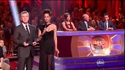 Brook Burke wore this daring asymmetrical gown with a sheer skirt to host the results show of 'Dancing with the Stars.'