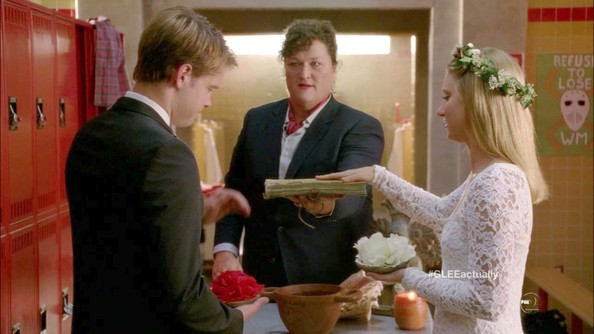 "Heather Morris said, ""I do,"" on 'Glee' wearing a cute and youthful lace skater dress."