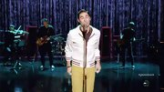 Darren Criss knows how to rock colorful pants, opting for a mustard pair on 'Glee.'