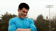 Max Greenfield is not afraid to wear bright colors--even for a game of flag football.