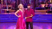 For the 'Dancing with the Stars semi-final,' Katherine Jenkins went all '20s with short fingerwaves, long pearls and a drop-waist handkerchief hem dress.