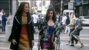 Andie MacDowell was the picture of chic in a color-blocked dress and dramatic coat.
