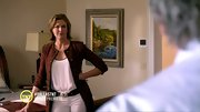 Brenda Strong gave her jeans polish with a sleek brown tweed coat on 'Dallas.'