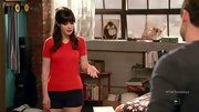 Zooey Deschanel gave a prim sweater a flirty touch on 'New Girl' with black short shorts.