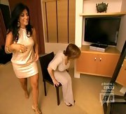 Kathy Wakile looked ready to hit the club on 'The Real Housewives of New Jersey' in this glitzy champagne dress.