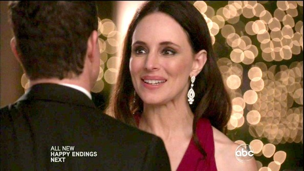 Madeleine Stowe heightened the drama of her gorgeous crimson gown with diamond drop earrings.