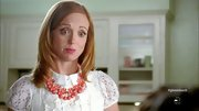Jayma Mays added a pastel touch to her look with a coral beaded necklace.