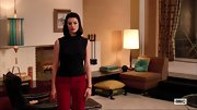 Jessica Pare kept her look simple and mod on 'Mad Men' with this sleeveless black crewneck sweater.