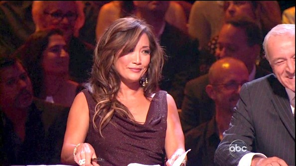Carrie Ann Inaba's sparkly maroon dress looked made for the dancing judge.