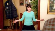 Zooey Deschanel chose a pale turquoise crewneck sweater for her bright and cheerful look on 'New Girl.'